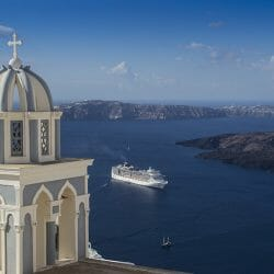 Blue domed chapel, Fira, on the island of Santorini, Greece