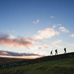 Friends Walking Along Hadrian's Wall